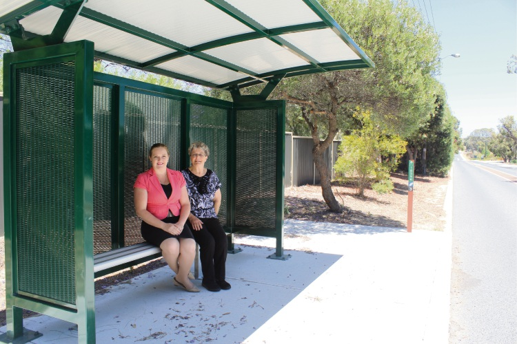 Kingsley MLA Jessica Stojkovski with Cherokee Village resident Pauline Vos at the upgraded bus stop.
