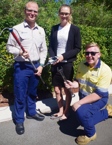 City of Nedlands ranger Daniel Sharples, left, environmental health officer Lauren Brayford and apprentice mechanic Daniel Blackwell.
