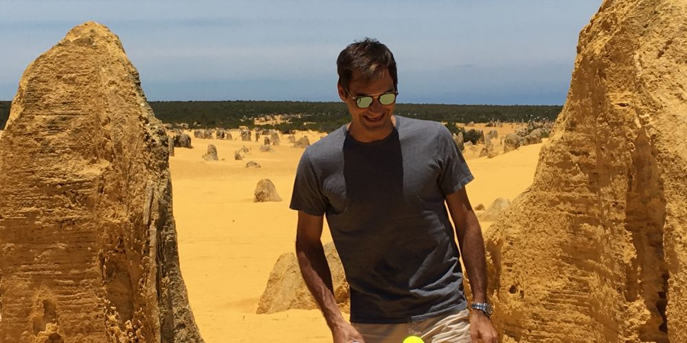 Tennis ace Roger Federer at The Pinnacles. Photo: Ben Smith.