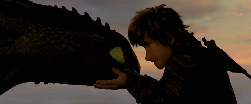 Toothless and Hiccup in How to Train Your Dragon: The Hidden World