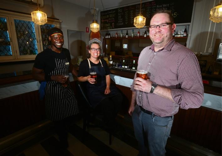 Head Chef Courtney Reid with Venue Supervisor Kirsten Lowes and Owner Brendan Craig Picture: Matt Jelonek www.communitypix.com.au   d489873
