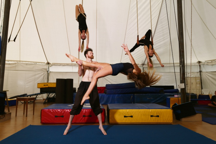 Front Stella Masters (17) Palmyra and Tim Simpson (23) Vic Park with Phoebe Ingleson (18) Melville and Maddie Barrett (18) Fremantle. Natano Fa'anana with performers from Circus's WA Youth Troupe. Photo: Andrew Ritchie