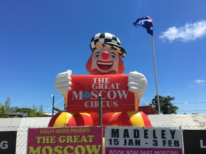 One of the Great Moscow Circus' inflatable clowns.