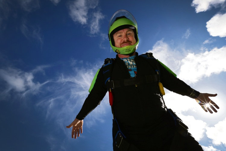Joseph Clarke is one of 150 Australian skydivers heading to California in May to break the Australian national record for largest freefall formation. Picture: Andrew Ritchie
