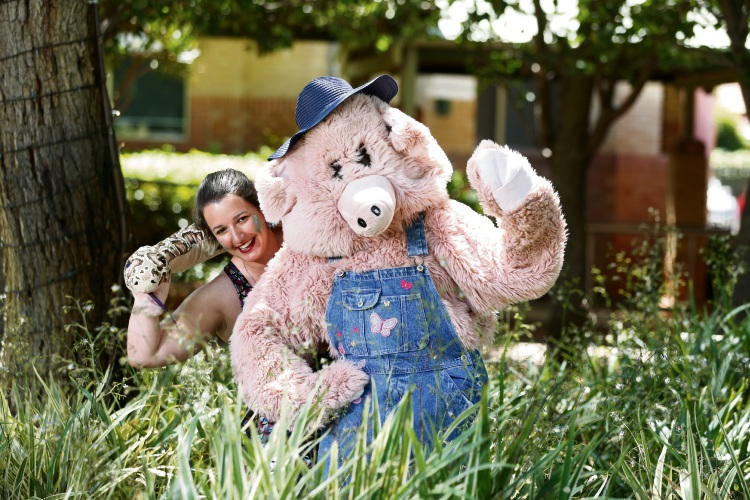 Patti the Pig (Serena Chalker) and Cass Rowles with her puppet snake Cuddles. Photo: Andrew Ritchie