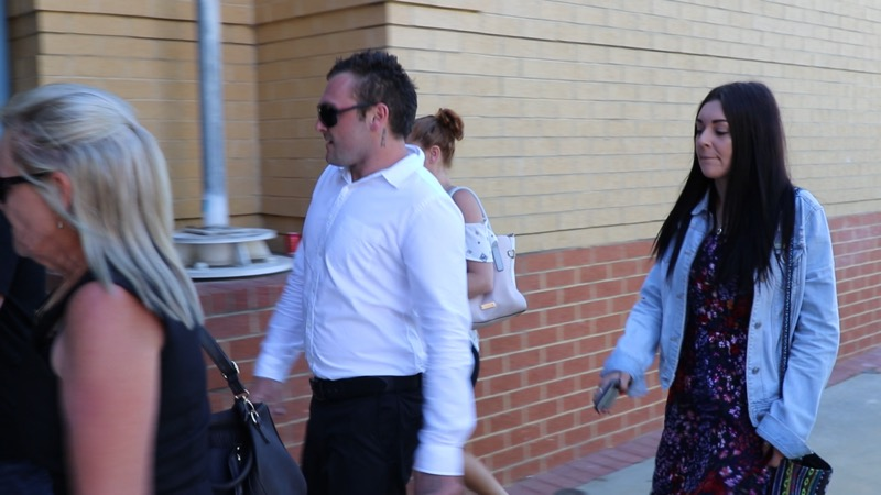 Dylan Griffin arriving at Joondalup Magistrates Court this morning. Picture: Anton La Macchia