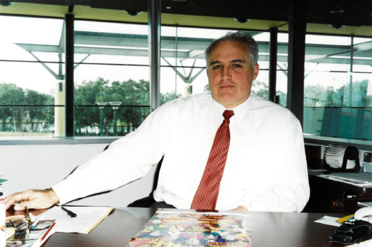 Patrick Corrigan in his office at the centre in 1998.