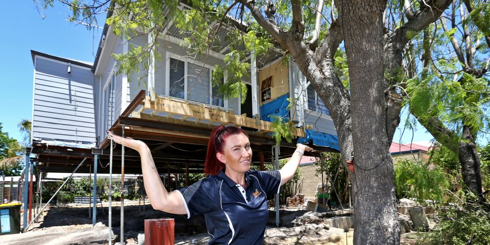 Kelly Grey decided to raise her house and build underneath instead of adding a second storey. Picture: David Baylis