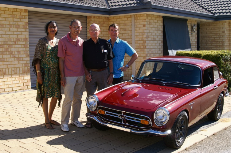 Ragani Eulenstein, Terry Lim, Allan Eulenstein, Brian Eulenstein and the Honda S 800 coupe.