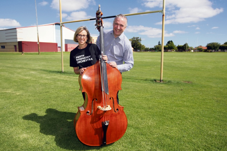 Libby Browning with double bass & Deputy City of Bayswater Deputy Mayor Chris Cornish Picture: Bruce Hunt www.communitypix.com.au   d490001