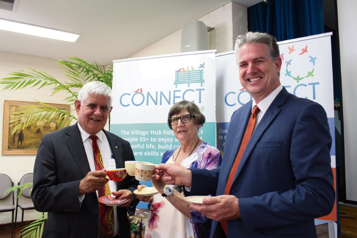 Aged Care Minister Ken Wyatt with Tricia Young and Luke Garswood at the Connect Victoria Park's Village Hub first birthday high tea.