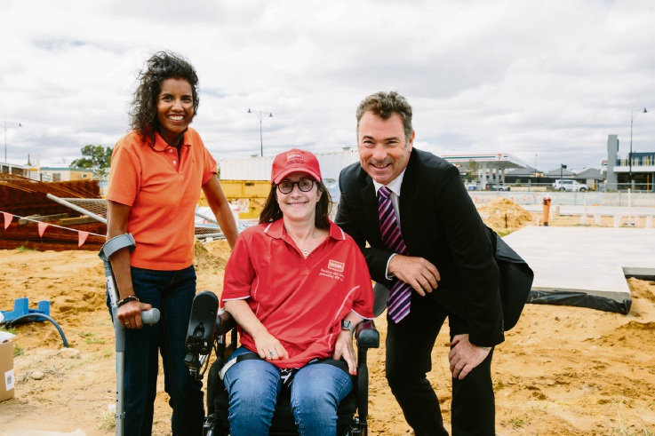 MSWA members Nicolette Murphy and Kate Gild with chief executive Marcus Stafford at the Butler facility sod-turning event last year.