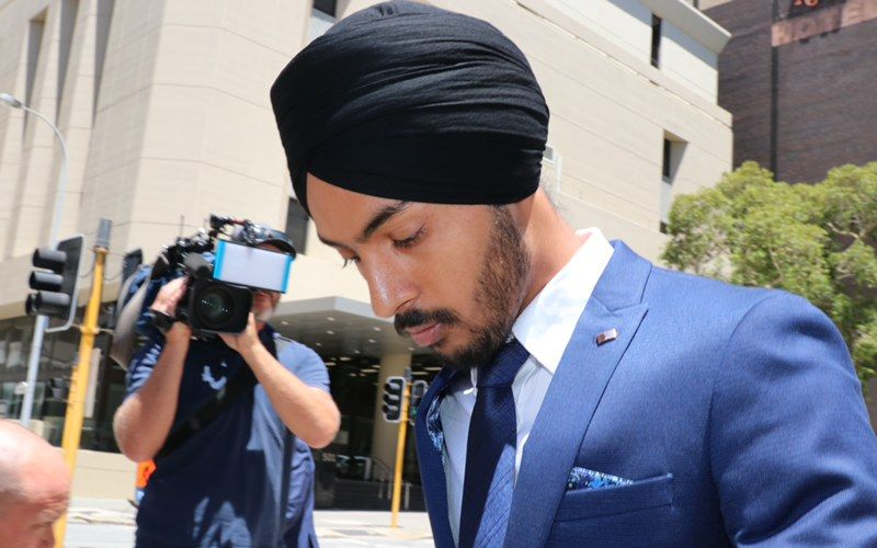 An Indian man who caused a crash that killed a tourist in Perth has been spared an immediate jail term. Amritpal Singh Sidhu (23) is pictured leaving court today. Photograph: Anton La Macchia