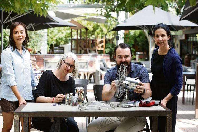 L-R Angie Kings-Lynne (Co-organiser Repair Cafe), Claudia Franke (volunteer textile repair), Alex Ynema (volunteer electrical repair) and Elle Gonzales-Skuja (Co-organiser Repair Cafe). Picture: Andrew Ritchie