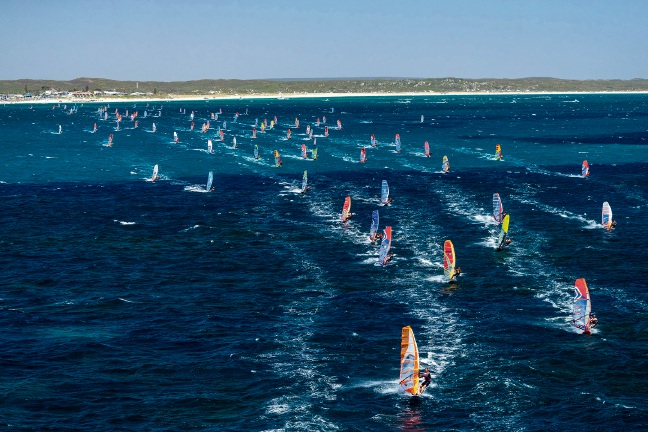 Competitors at the beginning of the Lancelin Ocean Classic Festival marathon leave Ledge Point in 2019. Picture: Kym Illman.