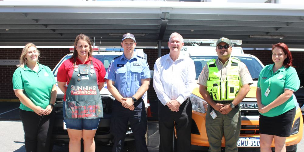 City of Cockburn councillor Lara Kirkwood, Bunnings Cockburn's Rebecca Sloan, Cockburn Police's Christian Evas, Cockburn mayor Logan Howlett, City of Cockburn Ranger Service's Anoop Dhananjayan and Cockburn councillor Chontelle Sands.