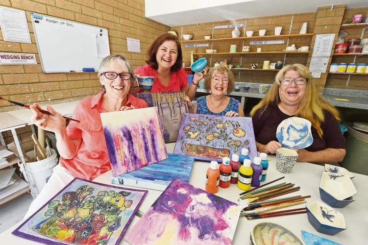 Teena Raffa-Mulligan, Lesley Jeffreys, Bec Thomas and Susanna Beal at the Rockingham Arts Centre. Picture: Jon Hewson