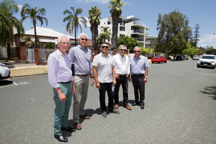 rchitect Peter Jodrell with property owners John Garmony, F Carbone, Bill Amann and Sam Sapienza. Picture: Bruce Hunt