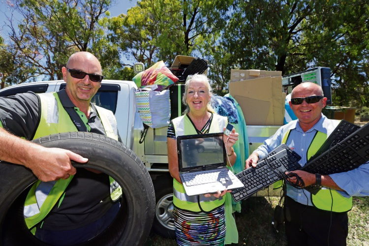Rob Baldini and Clyde Leach from the City of Wanneroo's waste services with Mayor Tracey Roberts. Picture: Martin Kennealey d490157