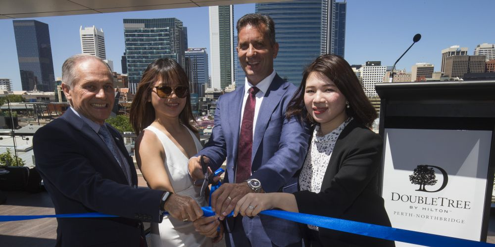Hilton Perth General Manager David Constantine with SKS Finance Director Kindi Sim, Tourism Minister Paul Papalia and SKS Managing Director Windi Sim at the DoubleTree Perth Northbridge opening. Picture Matt Jelonek