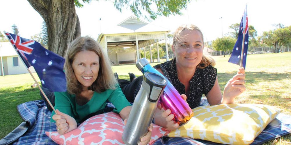 (l-r) Peppermint Grove council's Vanessa O'Brien and Mosman Park council's Janine Poerschke would like Australia Day celebrants to bring water bottles and picnic sets. Picture: Jon Bassett.