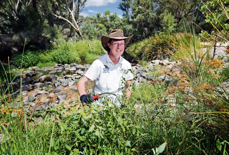 Catherine Williams (Bannister Creek Catchment Group Coordinator), seen here working at Bannister Creek in Ferndale. Picture: David Baylis