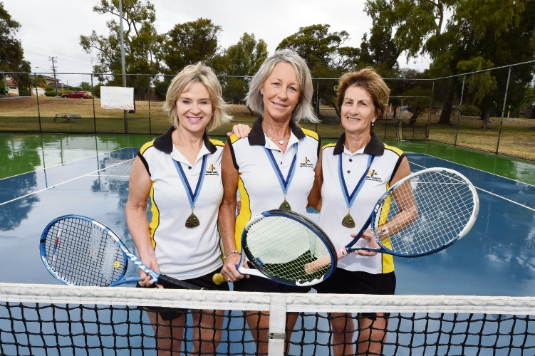 Debbie Cummings, Annette Myors and Rosemary Dunn were part of the team that won gold at the National Seniors Tennis Championships. Picture: Jon Hewson