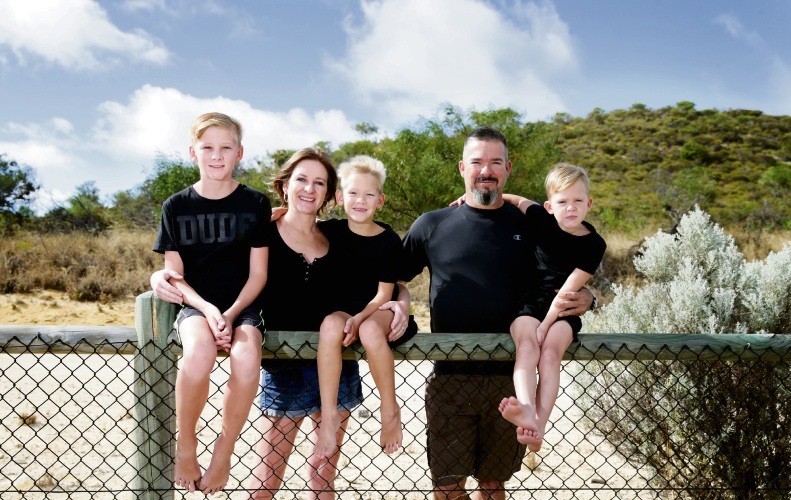 Cindy and Adriaan Deale (Yanchep) with Aiden Rogers (12), Damien Deale (7) and Ethan Deale (5). Picture: Martin Kennealey d490264