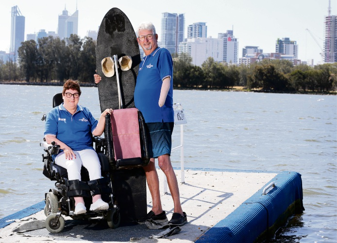 WA Disabled Water Ski Club secretary Karen Anderson and president Ted Anderson with adaptive equipment at McCallum Park.