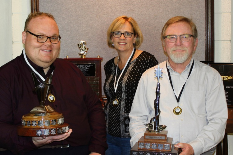 Craig Griffen, Vanessa Jensen and Alan Kennedy with their trophies from the Robert Finley Awards.