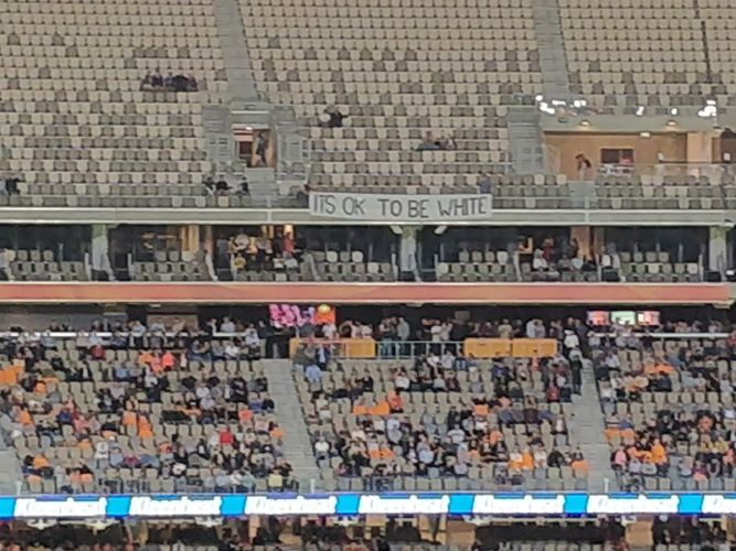 A banner displayed during Perth Scorchers' clash with Sydney Thunder. Photo: Gareth Parker, Twitter.