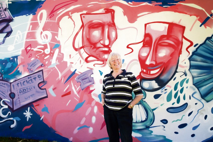 Wanneroo Repertory Club president Shelley McGinn at the Limelight Theatre mural. Picture: Martin Kennealey d490366