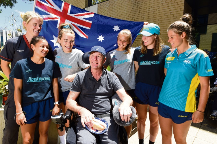 Fiona Stanley patient David McGuire meets Hockeyroos players Rachael Lynch, Kristina Bates, Beck Greiner, Lily Brazel and Sophie Taylor. Picture: Jon Hewson