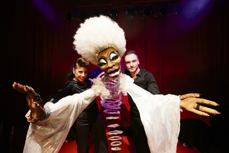 An unusual puppet act is provided by Canada's Cabaret Decadanse.