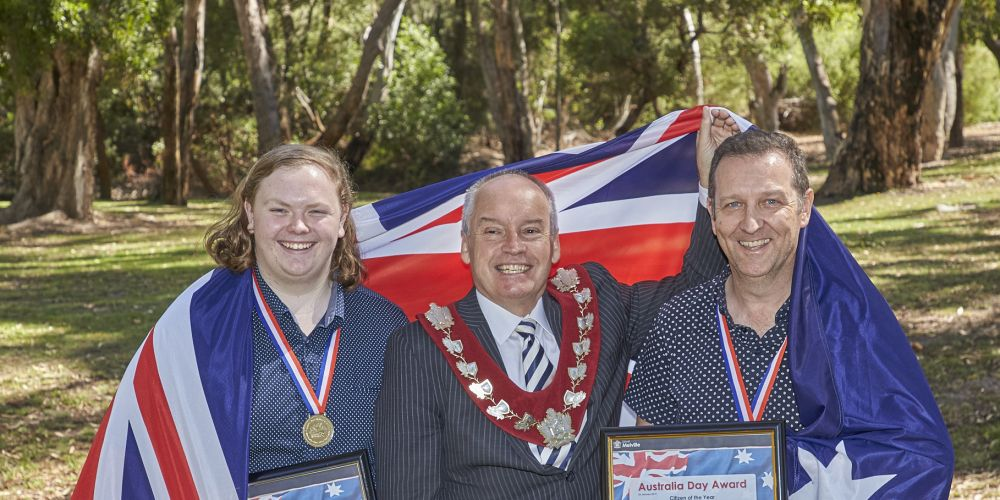 Mayor Russell Aubrey (centre) wit City of Melville award winners Ryan Garvey and Denis Waddams.