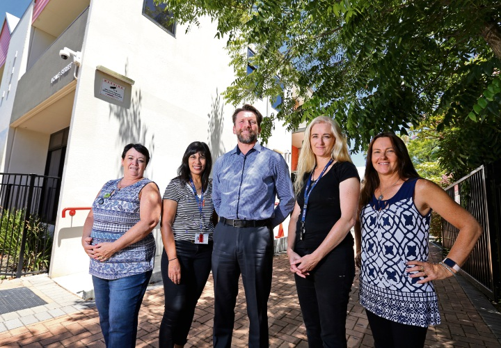 L-R: Richard Furber (Principal, Youth Futures Community School, which is part of Youth Futures and Comet Care Schools), Gaye Harrison (Administration and Student Support), Jackie Breach (Trainer), Vivienne O'Neill (Teacher) and Jane Hillis (Teacher). Photo: David Baylis