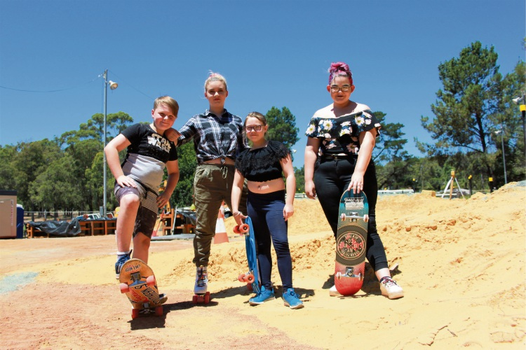 Cameron Campbell, Shivanagh Campbell-Warr, Eve Campbell and Charli Campbell-Warr check out progress on the skate park.