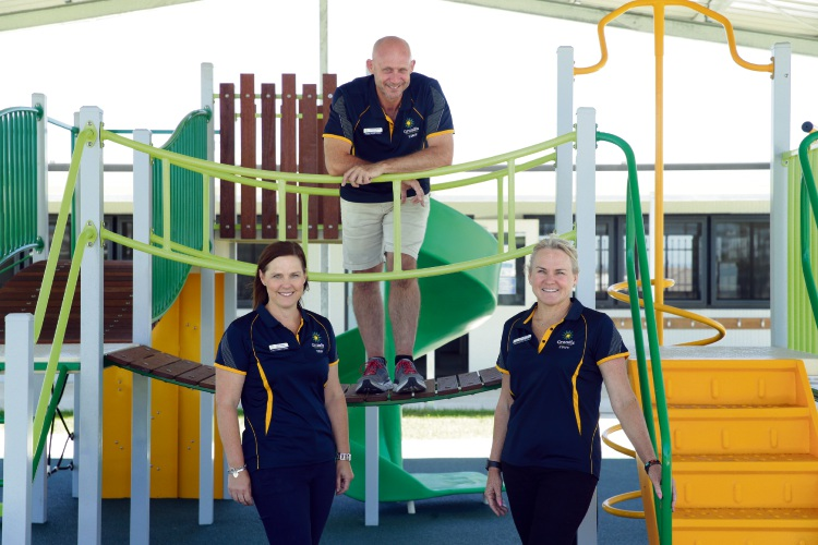 Grandis Primary School deputy principal Trudy Jones, principal Steve Bevan and corporate services manager Jackie Norman. Picture: Martin Kennealey d490389