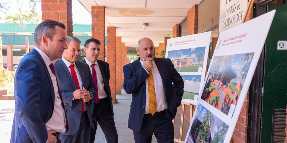 Mark McGowan, Forrestfield MLA Stephen Price, Labor candidate for Hasluck James Martin and Principal Rob Lawson inspect the new designs for Darling Range Sports College.