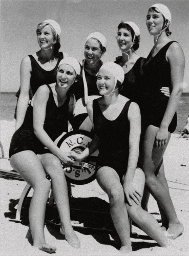 1960 female State Rescue Resuscitation champions Back: Jacky Kenny, Libby Driscoll, Sharon Smith, Judy Peacock. Front: Mary Antony, Joy Kernaghan