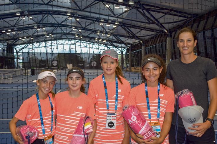 Caitlin Bourke (NSW), Amy Findlay (WA), Zali Illitch (ACT), Sari Barilla (SA) and coach Marisa Gianotti (WA)