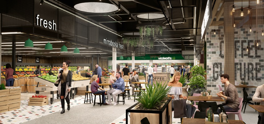 An artist impression of proposed upgrade to The Square Mirrabooka's food court.