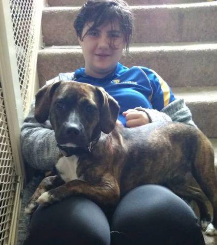 Belinda Edwards, of Girrawheen, with her dog Jessi.