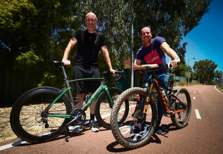 (l-r) Bicycling WA chief executive Chris Gaskell and Quipmo chief executive Chris Evans see opportunity in a complete Perth-Fremantle PSP.  Picture: Matt Jelonek.