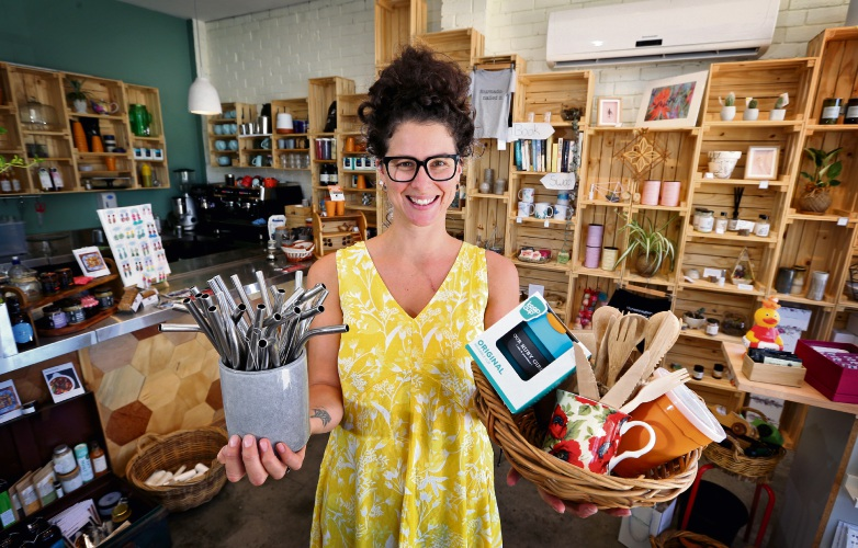 Our Ruby Girl Café & Providore owner Sarah Yates with the zero-waste options the café offers. Picture: David Baylis