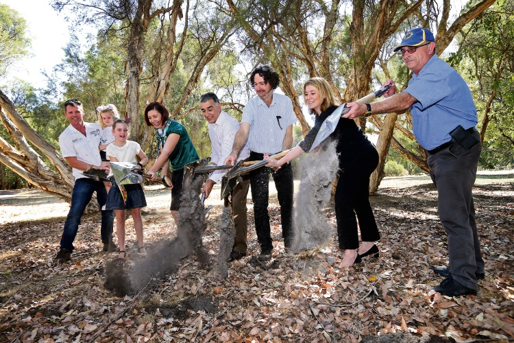 Turning of the sod ceremony for the $1.25 million Pia's Place playground at Whiteman Park. Picture: David Baylis  d490463