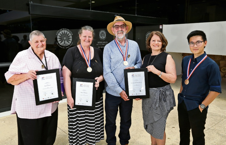 L-R: City of Bayswater Community Citizen of the Year award winners Polly Lawson (Senior Citizen of the Year), Michelle Hughes (Citizen of the Year), Keith Clements (Active Citizen of the Year), Lynn Deering (Active Citizen of the Year) and Galvin Phuong (Youth Citizen of the Year). Photo: David Baylis