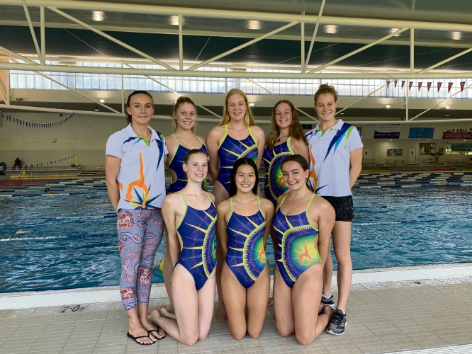 SupaNova Synchronised Swimming Club members (back) Rose Stackpole, Charlotte Williams (17), Kazia Zenke, Celeste Johns (16), Jane Fruzynski, (front) Thirsa van Amersfoort (15), Alessandra Ho and Hannah Burkhill.