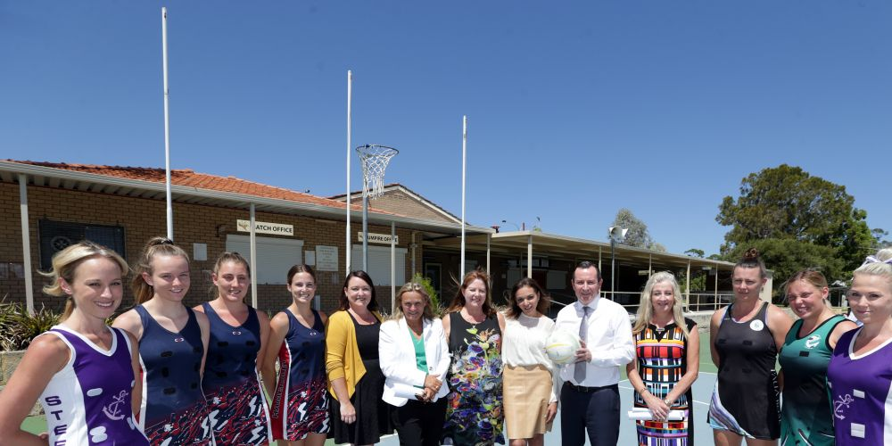 Premier Mark McGowan with local netballers and Joondalup MLA Emily Hamilton, Wanneroo MLA Sabine Winton,Yvette Thomson (president Wanneroo Districts Netball Association), Cowan MHR Anne Aly and Wanneroo Mayor Tracey Roberts. Picture: Martin Kennealey d490521