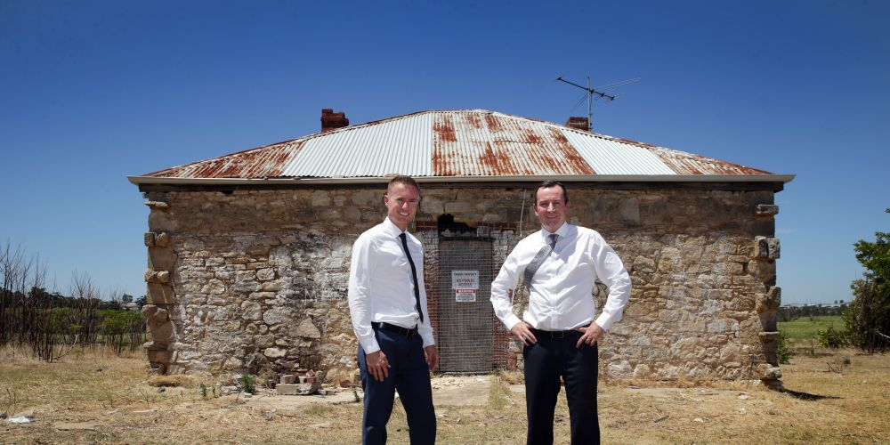 Joondalup Mayor Albert Jacob and Premier Mark McGowan at Duffy House. Picture: Martin Kennealey d490481